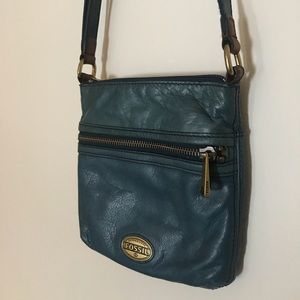 Authentic Fossil Teal Blue Leather Crossbody Purse